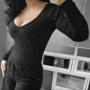 Bella Edge   Victoria Black Ribbed VNeck Bodysuit
